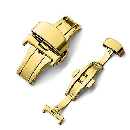 TGGFA Hebilla automática de acero inoxidable con doble clic para correa de reloj de 16 mm, 20 mm, 22 mm, 24 mm, herramienta de regalo (color dorado (automático), ancho de la correa: 24 mm)