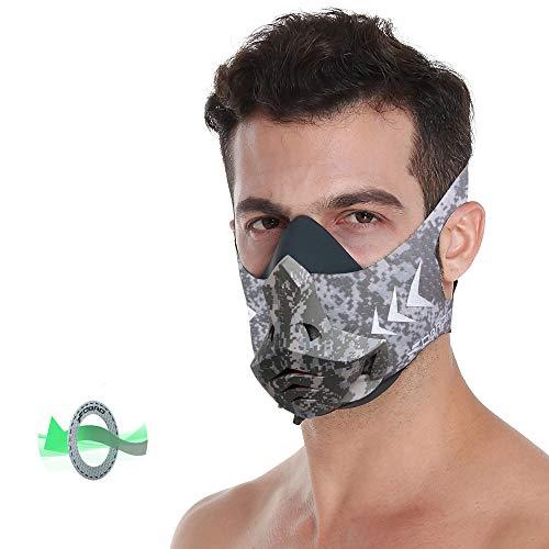 HXwsa Fitnesstraining Sport Maske, Pro-Übungs-Training Laufwiderstand Cardio Ausdauersport High Altitude Leichtathletik Sauerstoffkontrolle High Altitude Simulator (Training Mask),Tarnen,M