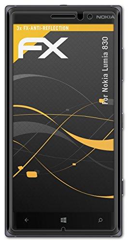atFolix Panzerfolie kompatibel mit Nokia Lumia 830 Schutzfolie, entspiegelnde & stoßdämpfende FX Folie (3X)
