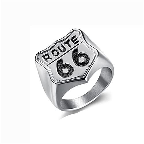 HHW U.S. Route 66 Ring Retro Motorcycle Ring Hombres Y Mujeres Ciclismo Anillo De Ruta De Acero Inoxidable,Plata,12