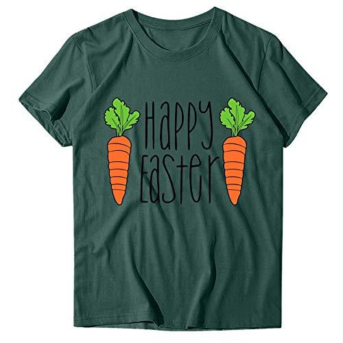 Camisetas para Mujer de Moda Camiseta con Estampado de Conejo Lindo de Pascua para Mujer Camisa con Estampado de Letras de Manga Corta con Cuello Redondo Suelto Informal