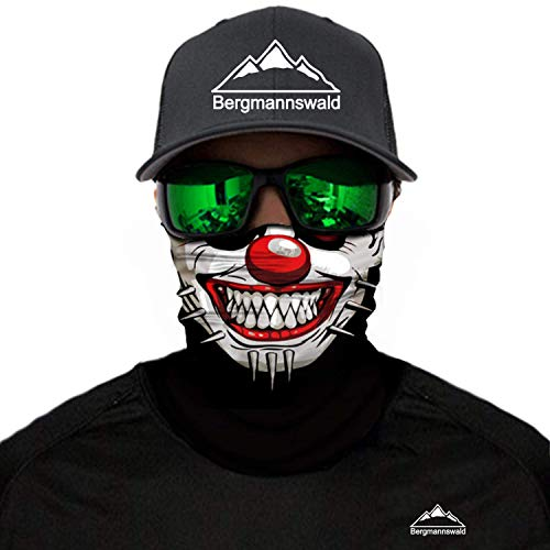 Bergmannswald® Multifunktionstuch - ausgefallene Designs - atmungsaktiv und flexibel - Ideal zum Reisen, Motorrad- und Skifahren (1er Pack, nahtlos, Der verrückte Clown)