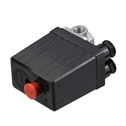 Winfred Pressostat de Compresseur d'Air avec 4 Sorties 90-120 PSI 240 V Commutateur de Pression Vanne de Contrôle Pièces pour Compresseur