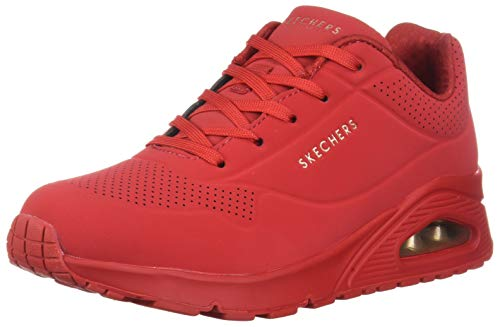 Skechers Damen UNO Stand On Air Sneaker, Rot (Red Durabuck Red), 38 EU
