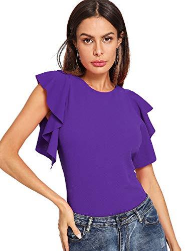 Romwe Women's Ruffle Sleeve Solid Elegant Wear to Work Blouse Top Purple L