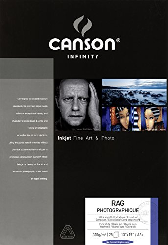 Canson Infinity Rag Photographique 310gsm,white matte inkjet paper, A3+, box of 25 sheets