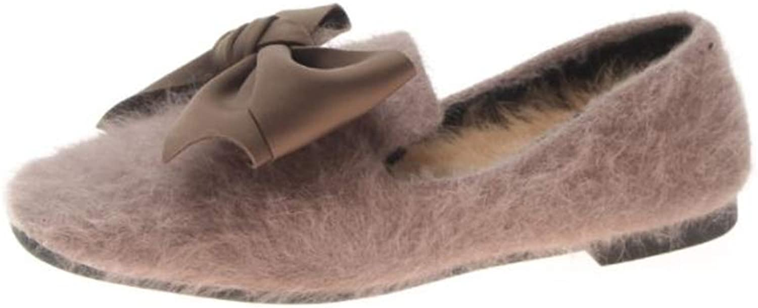Fancyww Womens Soft Pointed Toe Ballet Flats Fur Comfort Slip on Flat shoes