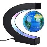 Forma C de Globo Flotante de levitación magnética rotación del mapa del mundo con luces LED Tierra Globo Para Decoración de Escritorio Regalo de Cumpleaños de Navidad(Azul)