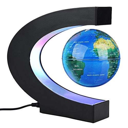 Forma C de Globo Flotante de levitacion magnetica rotacion del mapa del mundo con luces LED Tierra Globo Para Decoracion de Escritorio Regalo de Cumpleanos de Navidad(Azul)