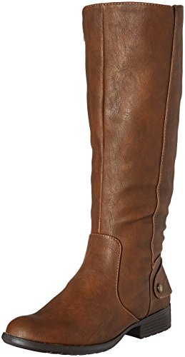 LifeStride Women's Xandy Riding Boot, Dark Tan Wide Calf, 7.5 M US