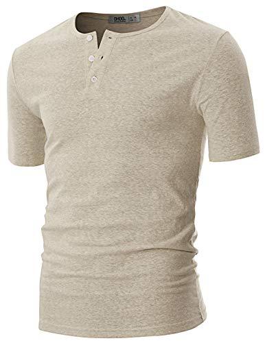 OHOO Mens Slim Fit Casual Short Sleeve Placket Melange Color Fabric Cotton Henley T-Shirts/DCT089-SANDYBEIGE-S