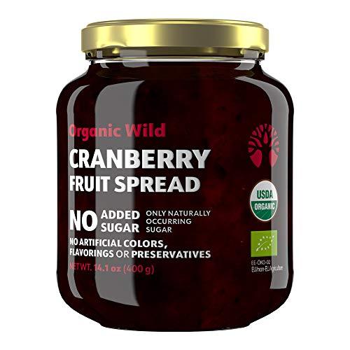 LOOV Bio Cranberry-Marmelade, 400 g, Vegan, Cranberry-Fruchtaufstrich, mit ganzen Bio-Cranberries aus nordischen Wäldern, handgepflückt, ohne Zuckerzusatz