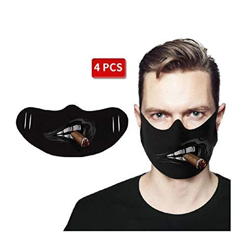 4 STK Mundschutz waschbar mit Motiv, Unisex Wiederverwendbare Gesichtsabdeckung, Mundbedeckung Stoff Anti-Staub mundschutz zum Laufen, Radfahren