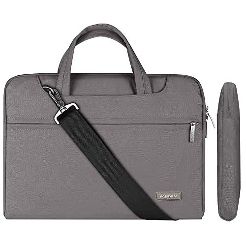 Qishare 13.3-14 Zoll Laptoptasche,multifunktionale Laptoptasche, Verstellbarer Schultergurt Laptop Schultertascher, tragbarer Dokumentenordner (13.3-14 Zoll, grau)