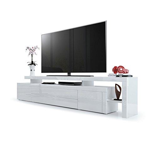 Vladon TV Board Lowboard Leon V3, Korpus und Überbau in Weiß Hochglanz/Front in Weiß Hochglanz mit Rahmen in Weiß Hochglanz