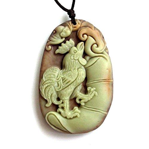 Ovalbuy Zwei Schicht Naturstein geschnitzt Chinesische Fortune Sternzeichen Hahn Amulett Anhänger 50mm * 33mm