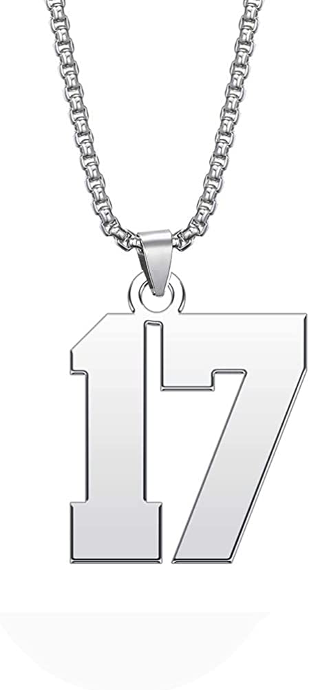 GMXLin Mens Sport Number Necklace Unisex Boys Stainless Steel Lucky Number Charm Tag Pendant with 3mm Chain for Soccer/Football/Basketball/Baseball Athlete Sports Fan