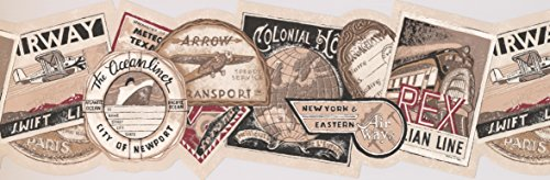 Vintage Travel Tags Wallpaper Border