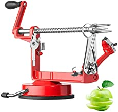 Apple Peeler And Corer,Table Apple Potato Peeler Corer Slicer Suction Base With Clamp,Stainless Steel Hand-Cranking Durable Heavy Duty Apple Peeler (Red)