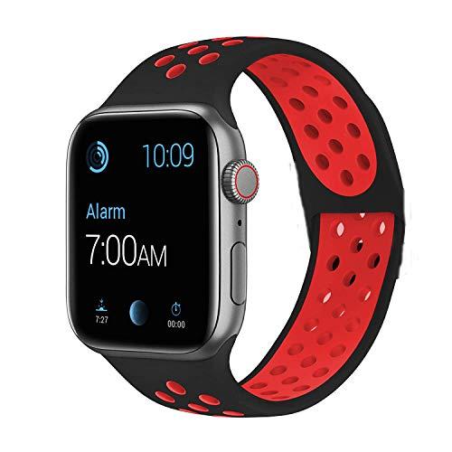 VIKATech Compatible con Apple Watch Correa 44mm 42mm, Correa Deportiva Reemplazo clásico de Silicona Suave Transpirable para iWatch Series 5/4/3/2/1, S/M, Negro/Rojo