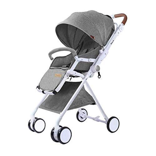 HHGO Lichte kinderwagen met paraplu, opvouwbaar, voor pasgeborenen en kleine kinderen, universeel voor vier seizoenen, omgekeerde slaapmand, comfortabel en groot