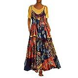 Drfoytg Women's Plus Size Tunic Dress Summer Bohemian Print Plaid Maxi T Shirt Knee-Length Dresses