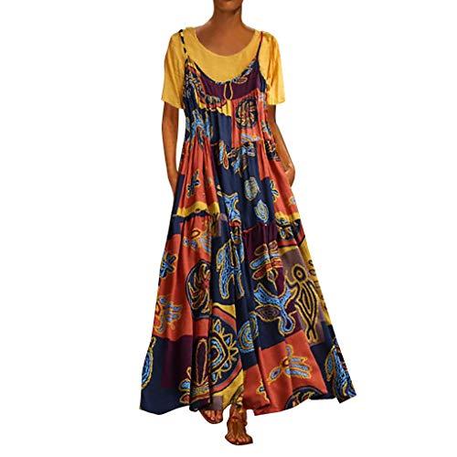 Voicry Frauen Plus Größe Patchwork Zweiteilige Oansatz Kurzarm Print Vintage Maxi-Kleid (A2_Gelb,EU:44/CN:3XL)