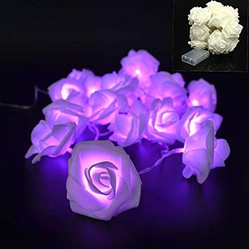 VIPMOON Rose Flower String Lights,2M 20LED Battery Operated Romantic String Lights Bright Warm Flower Rose Lamp Fairy Light for Valentine's Day Wedding Gardens Party Christmas Decoration - Purple