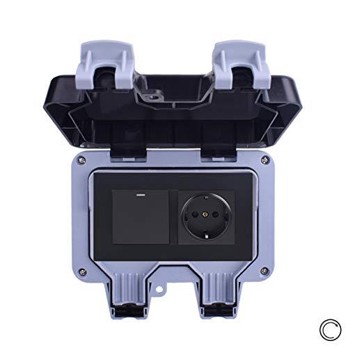 Toma de pared estándar impermeable a prueba de agua IP66 con 1 interruptor de pulsador de botón de 1 forma de gang 1 reinicio del interruptor de contacto momentáneo