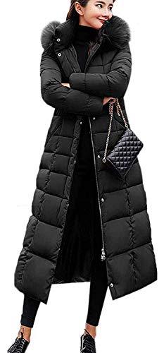Uni-Wert Damen Winterjacke Lange Daunenjacke Warm Parka Jacke mit Fellkapuze Steppjacke Wintermantel Casual Daunenmantel