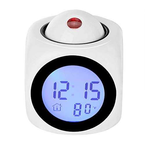 liangh LED Bedside Alarm Clock,Smart Projection Voice Report Clocks,Creative Multi Functional Clock,Best Gift,White