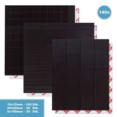 HaftPlus - 140 teiliges Set Magnetplättchen selbstklebend, in verschiedenen Größen, für Lehrer, Bastler und Kreative