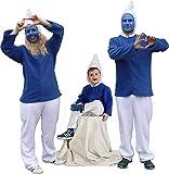 Blauer Zwerg 2-TLG mit Kapuze Plüsch für Kinder und Erwachsene Zwergen-Kostüm blau weiß...