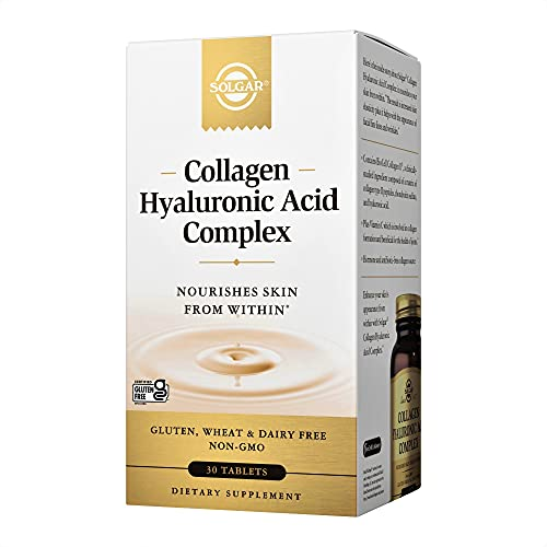 Solgar Collagen Hyaluronic Acid Complex, 30 Tablets - Hydrolyzed Collagen Type 2 - Helps with Fine Lines & Wrinkles - Boosts Skin Collagen & Elasticity - Non-GMO, Gluten & Dairy Free - 30 Servings