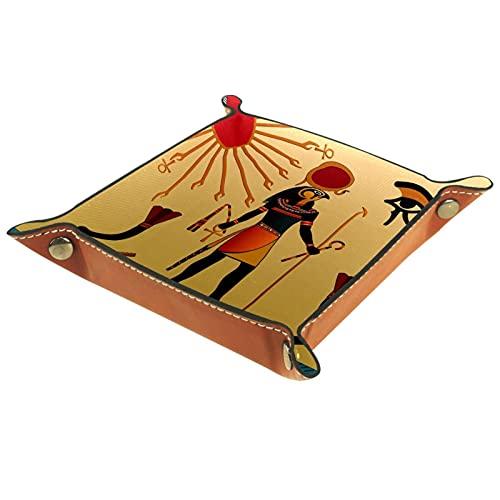 KAMEARI Bandeja de cuero con diseño de Egipto, caja de mone