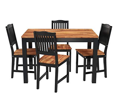 INTERBUILD REAL WOOD Akazie Swoppmokk Esszimmer-Set aus Echtholz, Tisch mit 4 stühlen Set, 0% VOC geölt und schwarz lackiert,kueche, esszimmer, Wohnzimmer, klein, Holz