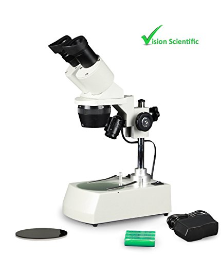Vision Scientific VMS0002-RC-234 Tri-Power Binocular Stereo Microscope, 2X, 3X, 4X Objective, Paired 10x WF Eyepiece, 20x, 30x, 40x Magnification, Top and Bottom LED, Cordless Rechargeable Battery