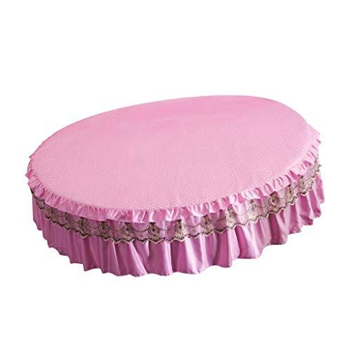 Dammsäker sängöverdrag Elastisk rund linne överkast Dammflöde rund säng kjol för drottning kung säng Dia.200 / 220cm - Rosa, M