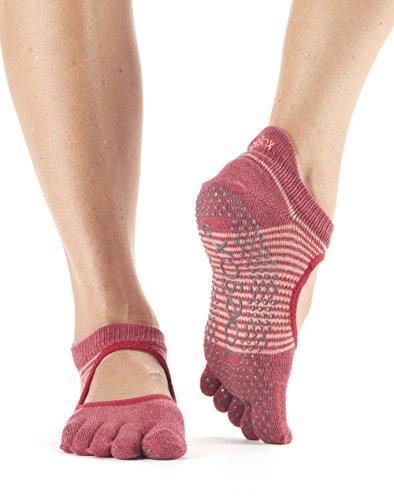 ToeSox Bella Calzini da donna con dita 1paio in cotone biologico aperti sul davanti, calzini per yoga., Donna, Pomegranate Stripe, S