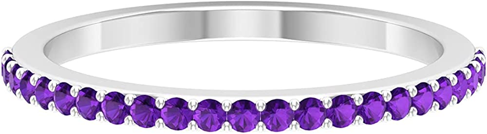 February Birthstone - 1/4 CT Amethyst Half Eternity Band Ring (AAA Quality), 14K Solid Gold