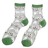 WT-YOGUET Damen-Socken, ultradünn, transparent, Glasfaser, mit Gänseblümchen-Motiv, Strumpfwaren