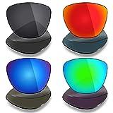 Mryok 4 pares de lentes polarizadas de repuesto para gafas de sol Oakley Frogskins – negro/rojo fuego/azul hielo/verde esmeralda