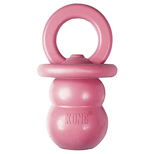 KONG - Puppy Binkie - Soft Teething Rubber, Treat Dispensing Dog Toy (Assorted Colors) - for Medium...