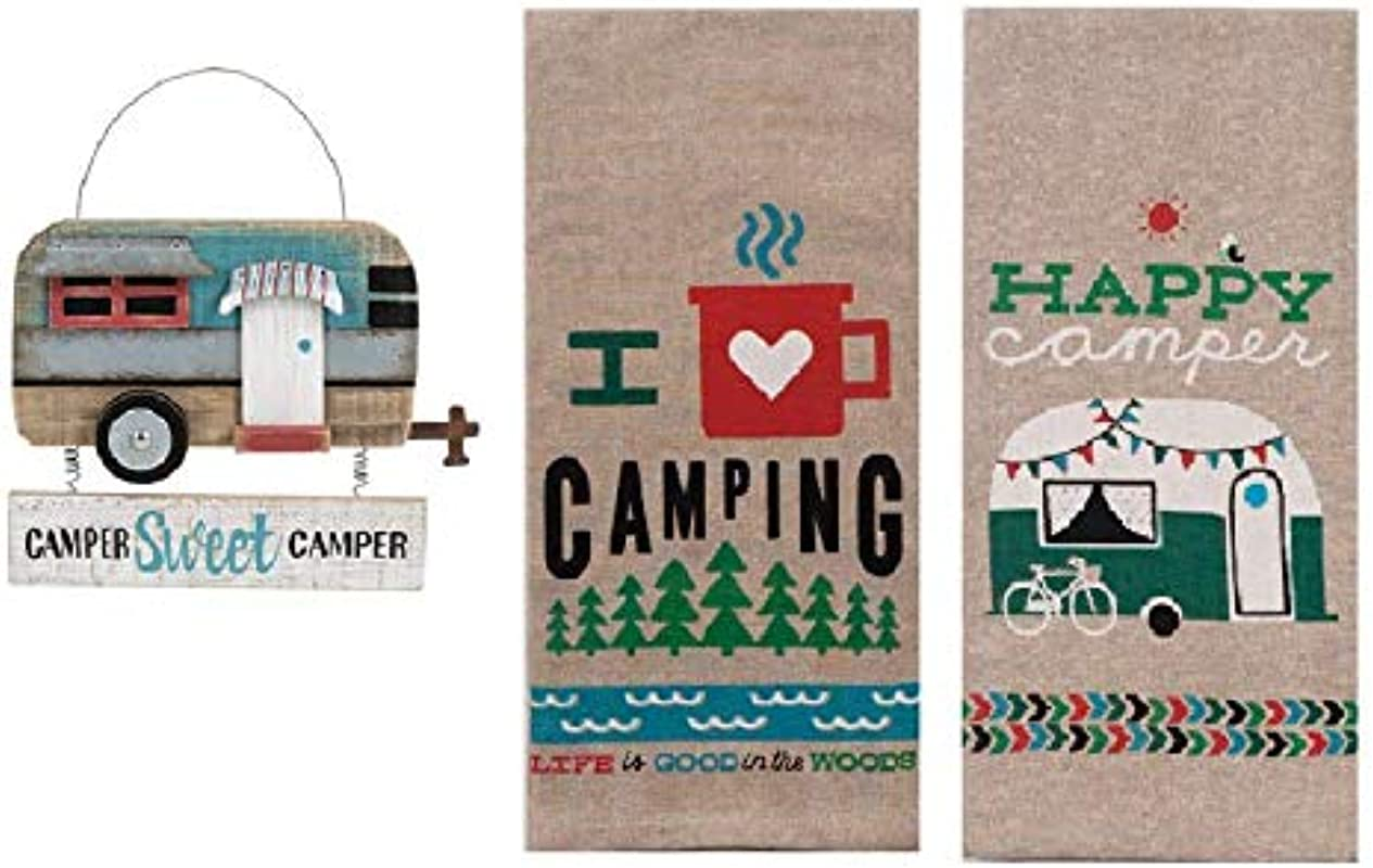 Ganz 3 Piece Decorative Sweet Camper Bundle Of Kitchen Towels And Hanging Wood Sign