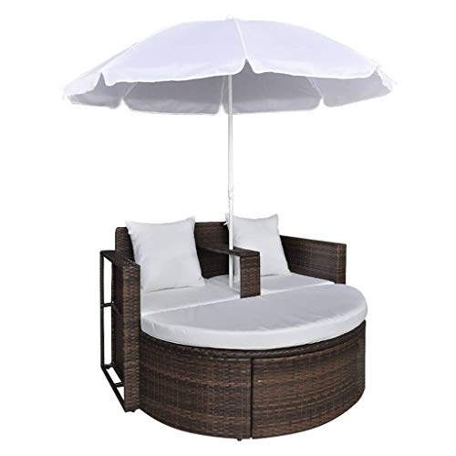 vidaXL Gartenlounge Poly Rattan Sonnenliege Gartenmöbel Garnitur + Sonnenschirm