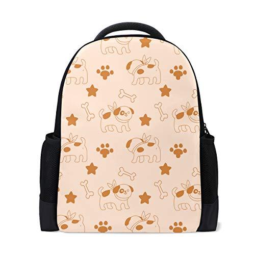 FANTAZIO Mochila marrón con diseño de hueso de perro y estrella mochila escolar