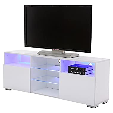SUNCOO TV Stand Media Console Cabinet LED Shelves with 2 Drawers for Living Room Storage High Gloss White for up to 57-inch TV Screens