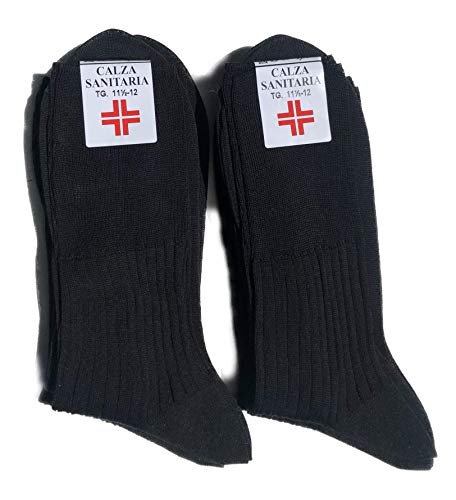 Lucchetti Socks Milano 6 pares de calcetines para hombre Sanitarias hilo de Escocia 100% algodón tejido Made in Italy (43-46, Negro)