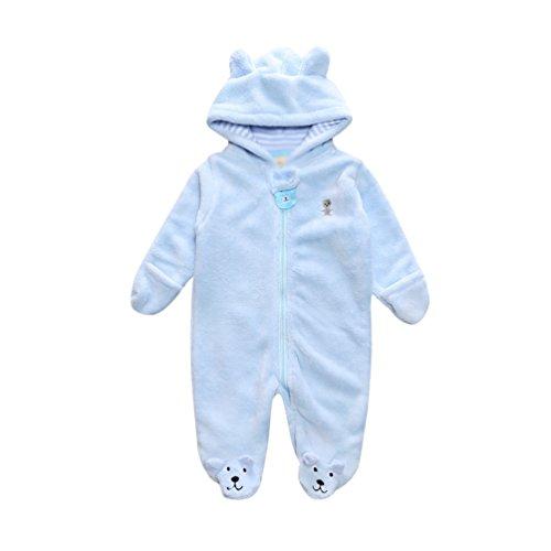 YiJee Kinder Langarm Babykleidung Strampler mit Kapuze Herbst und Winter Bär Form Jumpsuit Hellblau S