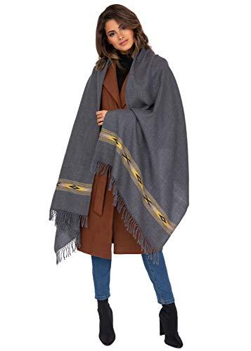 likemary Damen Schal Schultertuch aus 100% Merino Wolle - Poncho Stola XXL Tuch & Umschlagtuch - ideales ethisches Geschenk für Frauen - Takhi, 75 X 200cm Grau